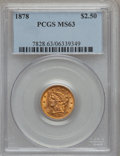 Liberty Quarter Eagles: , 1878 $2 1/2 MS63 PCGS. PCGS Population (262/172). NGC Census:(262/163). Mintage: 286,260. Numismedia Wsl. Price for probl...