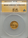 Liberty Quarter Eagles: , 1842-D $2 1/2 -- Mount Removed, Scratched -- ANACS. XF Details. NGCCensus: (6/44). PCGS Population (12/34). Mintage: 4,600...