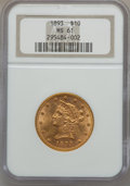 Liberty Eagles: , 1893 $10 MS61 NGC. NGC Census: (10314/19146). PCGS Population(5367/9276). Mintage: 1,840,895. Numismedia Wsl. Price for p...