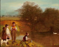 Paintings, F. HUNT (American, 19th Century). Children Fishing in the Pond. Oil on wood panel. 16 x 20 inches (40.6 x 50.8 cm). Sign...