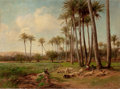 Fine Art - Painting, European:Other , DAVID BATES (British, 1840-1921). An Oasis in the Desert,1899. Oil on canvas. 22-1/4 x 30-1/4 inches (56.5 x 76.8 cm). ...