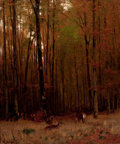 Fine Art - Painting, American:Modern  (1900 1949)  , CONTINENTAL SCHOOL (20th Century). Deer in the Forest. Oilon canvas. 37-1/2 x 31-1/2 inches (95.3 x 80.0 cm). Signed in...