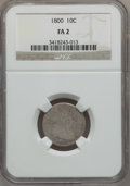 Early Dimes: , 1800 10C Fair 2 NGC. NGC Census: (1/44). PCGS Population (1/62).Mintage: 21,760. Numismedia Wsl. Price for problem free NG...