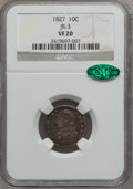 Bust Dimes: , 1827 10C VF20 NGC. CAC. JR-3. NGC Census: (4/255). PCGS Population(11/286). Mintage: 1,300,000. Numismedia Wsl. Price for ...