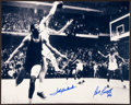 Basketball Collectibles:Photos, John Havlicek and Bill Russell Multi Signed Oversized Photograph....