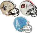Football Collectibles:Helmets, Drew Brees, Bo Jackson and Earl Campbell Signed Mini Helmets Lot of 3....