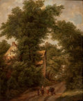 Fine Art - Painting, European:Other , ISABELLA CATHERINE VAN ASSCHE-KINDT (Belgian, 1794-after 1742).Woodland Landscape with Figures on a Path, 1833. Oil on ...