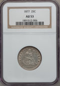 Seated Quarters: , 1877 25C AU53 NGC. NGC Census: (6/310). PCGS Population (5/330).Mintage: 10,911,710. Numismedia Wsl. Price for problem fre...