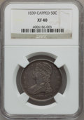 Reeded Edge Half Dollars: , 1839 50C XF40 NGC. NGC Census: (15/316). PCGS Population (37/326).Mintage: 1,392,976. Numismedia Wsl. Price for problem fr...