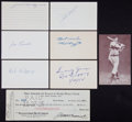 Baseball Collectibles:Others, New York Yankees Legends Signed Index Cards, etc. Lot of 8....