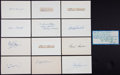 Baseball Collectibles:Others, . Baseball Greats Signed Index Cards Lot of 13....