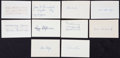 Baseball Collectibles:Others, Baseball Greats Signed Index Cards Lot of 10....