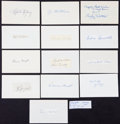 Baseball Collectibles:Others, Baseball Greats Signed Index Cards Lot of 14....