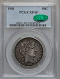 Barber Half Dollars: , 1901 50C XF40 PCGS. CAC. PCGS Population (30/298). NGC Census:(4/219). Mintage: 4,268,813. Numismedia Wsl. Price for probl...