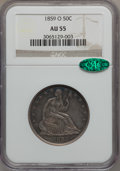 Seated Half Dollars: , 1859-O 50C AU55 NGC. CAC. NGC Census: (20/77). PCGS Population(32/72). Mintage: 2,834,000. Numismedia Wsl. Price for probl...