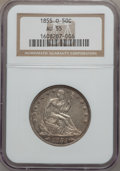 Seated Half Dollars: , 1855-O 50C Arrows AU55 NGC. NGC Census: (61/257). PCGS Population(44/234). Mintage: 3,688,000. Numismedia Wsl. Price for p...