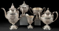 Silver Holloware, American:Tea Sets, A MANCHESTER SILVER COMPANY TEA AND COFFEE SERVICE . Providence,Rhode Island, circa 1915. Marks: (crown with cross), STER...(Total: 5 Items)