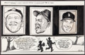 Baseball Collectibles:Others, Mickey, Willie and The Duke Original Artwork by Bill Gallo....