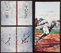 Baseball Collectibles:Others, Artist Proof Trio Of Sports Legends Prints(Ty Cobb, Satchel Paige,Cy Young, etc.)...
