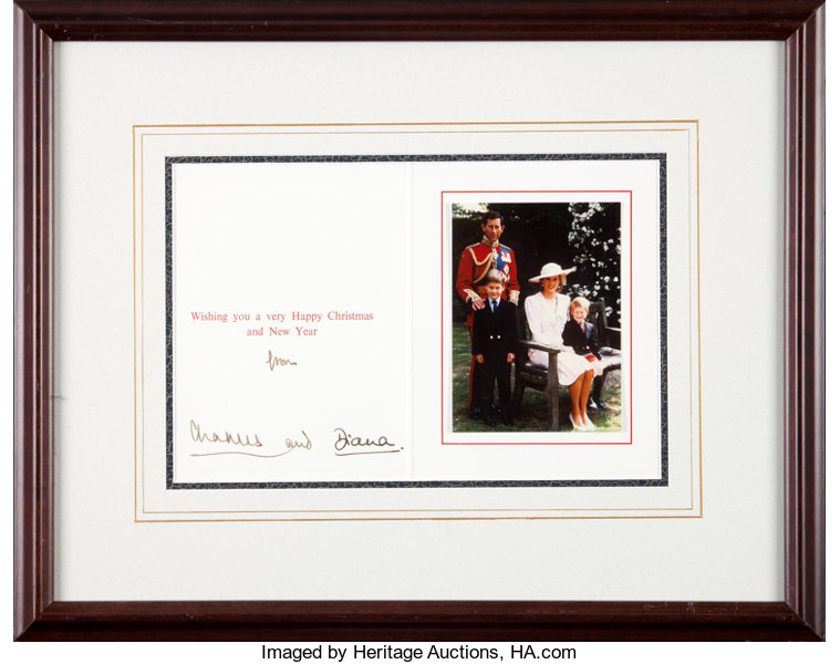 A Princess For Christmas Poster.Prince Charles And Princess Diana Christmas Card Signed