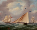 Fine Art - Painting, American, BRITISH SCHOOL (19th/20th Century). Boats at Sail. Oil oncanvas. 20 x 23-3/4 inches (50.8 x 60.3 cm). ...