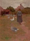 Fine Art - Painting, American:Other , ALEXIS JEAN FOURNIER (American, 1865-1948). French Woman FeedingHer Geese, 1895. Oil on canvas. 24-1/4 x 17-1/2 inches ...