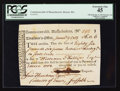 Colonial Notes:Massachusetts, Commonwealth of Massachusetts January 9, 1783 £86/0s/6d TreasuryTax Collector's Certificate PCGS Extremely Fine 45.. ...