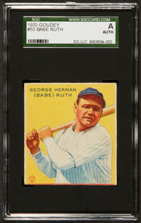 1933 Goudey Babe Ruth #53 SGC Authentic