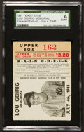 Baseball Collectibles:Tickets, 1941 Lou Gehrig Memorial New York Yankees Ticket Stub, July 4th1941 SGC Authentic. ...