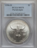 Modern Issues: , 1996-D $1 Olympic/Paralympics Silver Dollar MS70 PCGS. PCGSPopulation (110). NGC Census: (140). Numismedia Wsl. Price for...
