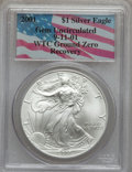 Modern Bullion Coins, 2001 $1 Silver Eagle Gem Uncirculated PCGS. WTC Ground ZeroRecovery. (#9954)...