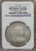 Errors, 1799 $1 Early Dollar, 7x6 Stars -- Brockage on Reverse, Cleaned -- NGC Details. XF....