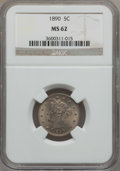 Liberty Nickels: , 1890 5C MS62 NGC. NGC Census: (30/232). PCGS Population (33/306).Mintage: 16,259,272. Numismedia Wsl. Price for problem fr...