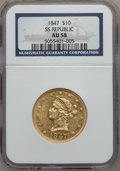 Liberty Eagles: , 1847 $10 AU58 NGC. NGC Census: (155/65). PCGS Population (19/26).Mintage: 862,258. Numismedia Wsl. Price for problem free ...