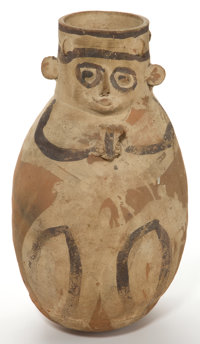A PRE-COLUMBIAN FIGURAL POTTERY VESSEL 22-3/4 inches high x 13 inches wide x 13 inches deep (57.8 x 33.0 x 33.0 c