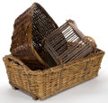 Decorative Arts, Continental:Other , A GROUP OF THREE BASKETS . 20th century . 12 inches high x 32inches long x 19 inches wide (30.5 x 81.3 x 48.3 cm). Elton ...(Total: 3 Items)