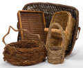 Decorative Arts, Continental:Other , A GROUP OF FIVE BASKETS . 20th century . 10 inches high x 25 incheslong x 22 inches wide (25.4 x 63.5 x 55.9 cm) (largest)... (Total:5 Items)