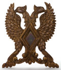 Decorative Arts, Continental:Other , A MEXICAN GILT WOOD AND GLASS DOUBLE-HEADED EAGLE . 20th century .24 inches high x 20-1/2 inches wide (61.0 x 52.1 cm). E...