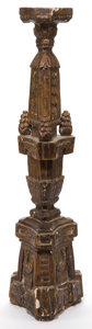 Decorative Arts, Continental:Other , A MEXICAN CARVED WOOD CANDLESTICK . Early 20th century. 28-1/2inches high (72.4 cm). Elton Hyder III Collection Formerly ...