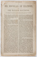 Books:Americana & American History, Stephen Arnold Douglas. Speech of Mr. Douglas, of Illinois, onthe Monroe Doctrine. US Senate, 1853. [8] pages. ...