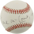 Autographs:Baseballs, Frank McCourt Single Signed Baseball. Dating from the 1990s, thisONL (Coleman) baseball has been signed on the sweet spot ...
