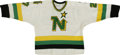 Hockey Collectibles:Uniforms, 1983-84 Gilles Meloche Game Worn Jersey. Elegant hockey sweaterseen here was worn by goalie Gilles Meloche during the Minn...