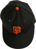 Baseball Collectibles:Hats, Barry Bonds Game Worn San Francisco Giants Cap. Black New Era SanFrancisco Giants cap worn by the newest King of the Longb...