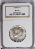 Kennedy Half Dollars: , 1968-D 50C MS66 NGC. NGC Census: (95/8). PCGS Population (204/11).Mintage: 246,951,936. Numismedia Wsl. Price: $30. (#6711...