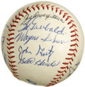 Autographs:Baseballs, 1963 Tacoma Giants Team Signed Baseball. Eighteen from the minorleague Tacoma Giants squad of 1963 have checked in on the ...