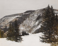 Fine Art - Painting, American:Contemporary   (1950 to present)  , JAMES R. BLAKE (American b.1932). Snowcapped Mountain View.Watercolor on paper. 18 x 23 inches (45.7 x 58.4 cm). Signed...