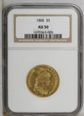 Early Half Eagles: , 1806 $5 Round Top 6, 7x6 Stars AU50 NGC. NGC Census: (5/339). PCGSPopulation (37/331). Mintage: 64,093. Numismedia Wsl. Pr...