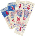 Baseball Collectibles:Tickets, 1976 World Series Tickets/Stubs Lot of 4. Three World Series ticketstubs from the 1976 Fall Classic that pitted the Yankee...