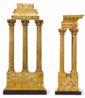 Decorative Arts, Continental:Other , Two 'Grand-Tour' Siena Marble Models of Ruins. Unknown maker,probably Italy. Late 19th century. Marble and slate. Unmarked ...(Total: 2 Items)