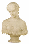 Fine Art - Sculpture, European:Antique (Pre 1900), After Hiram Powers (American, 1805-1873). . Bust of Clytie,second half of 19th century. Marble. 28 x 48 inches (71.1 x ...